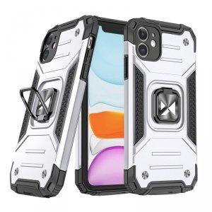 Ring Armor pancerne hybrydowe etui pokrowiec + magnetyczny uchwyt iPhone 11 srebrny