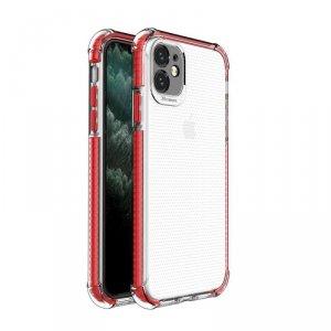 Spring Armor żelowy elastyczny pancerny pokrowiec z kolorową ramką do iPhone 11 czerwony