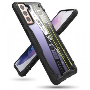 Ringke Fusion X Design etui pancerny pokrowiec z ramką Samsung Galaxy S21 5G czarny (Ticket band) (XDSG0049)