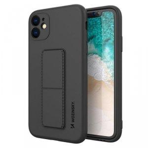 Kickstand Case elastyczne silikonowe etui z podstawką iPhone SE 2020 / iPhone 8 / iPhone 7 czarny