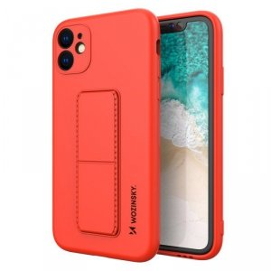 Kickstand Case elastyczne silikonowe etui z podstawką iPhone 11 czerwony