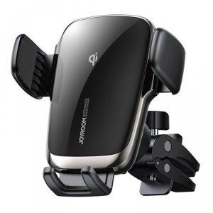 Joyroom bezprzewodowa ładowarka Qi 15 W automatyczny elektryczny uchwyt samochodowy na kratkę wentylacyjną nawiew czarny (JR-ZS2