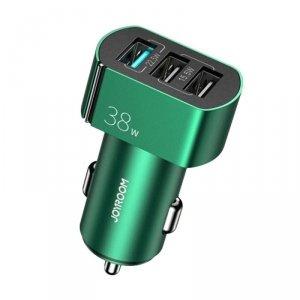 Joyroom szybka ładowarka samochodowa Quick Charge 3.0 (QC3.0) 4,5A 38W 3x USB zielony (C-A19 green)