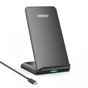 Choetech bezprzewodowa ładowarka Qi 10W stojak na telefon + kabel USB - micro USB czarny (T524-S)