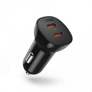 Choetech ładowarka samochodowa 2x USB Typ C Quick Charge Power Delivery 40W FCP AFC czarny (TC0008)