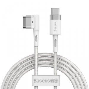 Baseus Zinc kątowy magnetyczny kabel zasilający do MacBooka Power - USB Typ C 60W 2m biały L-shape (CATXC-W02)