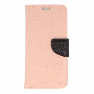Etui portfel fancy HUAWEI HONOR 7X różowo-czarny shine