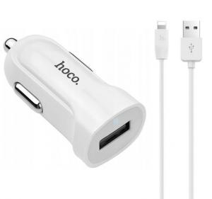 Hoco Ładowarka samochodowa 1xUSB 1.5A +kabel IPhone Lightning Z2 biała
