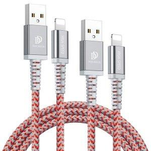 Kabel Lightning IPhone Dux Ducis 2A 1M+2M KII-PRO zestaw 2w1 wzmacniany nylonowy czerwony