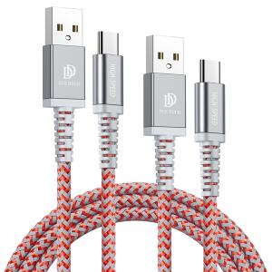 Kabel TYP C USB-C Dux Ducis 2A 1M+2M KII-PRO zestaw 2w1 wzmacniany nylonowy czerwony