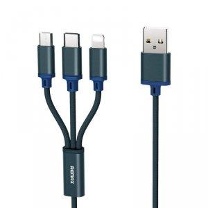 Kabel 3w1 2.8A 1.2m USB Typ C + Micro USB + iPhone Lightning Remax Gition RC-131TH niebieski