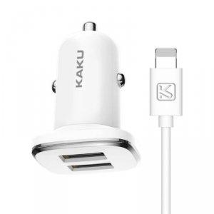 Ładowarka samochodowa 2.4A 2xUSB + Kabel USB iPhone Lightning KAKU Dual Port Charger (KSC-318) biała