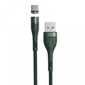 Magnetyczny Kabel 5A 1m USB na USB Typ C Szybkie Ładowanie i Transfer Danych Baseus Zinc Magnetic Safe (CATXC-N06) zielony