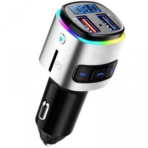 Transmiter FM (Bluetooth + USB + Karta SD) z Funkcją Szybkiego Ładowania Quick Charge 3.0 QC (BC41) czarno-srebrny