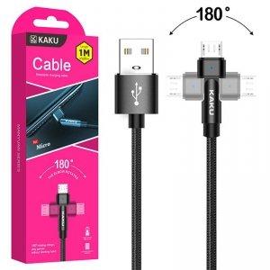 Kabel Obrotowy 180° Kątowy 3A 1m Micro USB Ładowanie i Przesył Danych KAKU Rotatable Charging Data Cable MicroUSB (KSC-465) czar