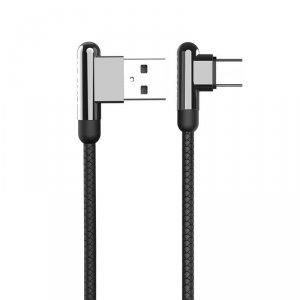 Kabel Kątowy 90° 3,2A 1,2m USB Typ C Ładowanie i Przesył Danych Stop Cynkowy KAKU Zinc Alloy Charging Data Cable USB-C (KSC-125)