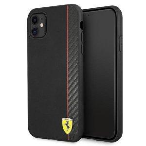 Ferrari FESAXHCN61BK iPhone 11 6,1 czarny/black hardcase On Track Carbon Stripe