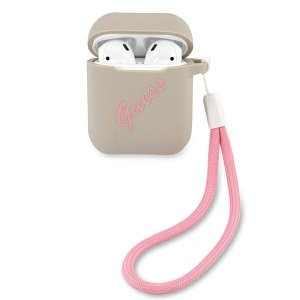 Etui GUESS GUACA2LSVSGP AirPods cover szaro różowy/grey pink Silicone Vintage