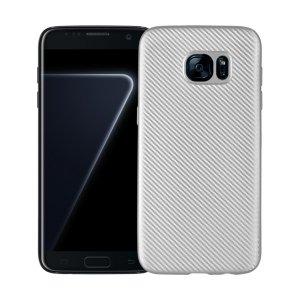 Etui Carbon Fiber Samsung S7 Edge G935 srebrny/silver