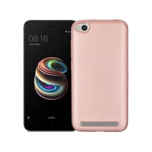Etui Carbon Fiber Xiaomi Note 5A różowo- złoty/rosegold without cut finger print