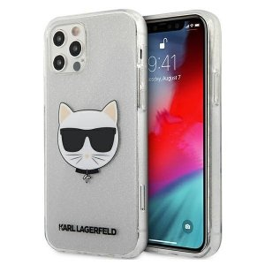 Karl Lagerfeld KLHCP12MCHTUGLS iPhone 12/12 Pro 6,1 srebrny/silver hardcase Glitter Choupette
