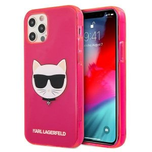 Karl Lagerfeld KLHCP12LCHTRP iPhone 12 Pro Max 6,7 różowy/pink hardcase Glitter Choupette Fluo