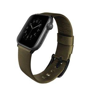 UNIQ pasek Mondain Apple Watch Series 4/5/6/SE 44mm. Genuine Leather oliwkowy/olive