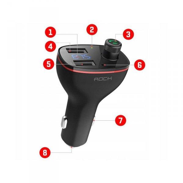ROCK B300 2-PORT USB CAR CHARGER + TRANSMITER FM BLACK