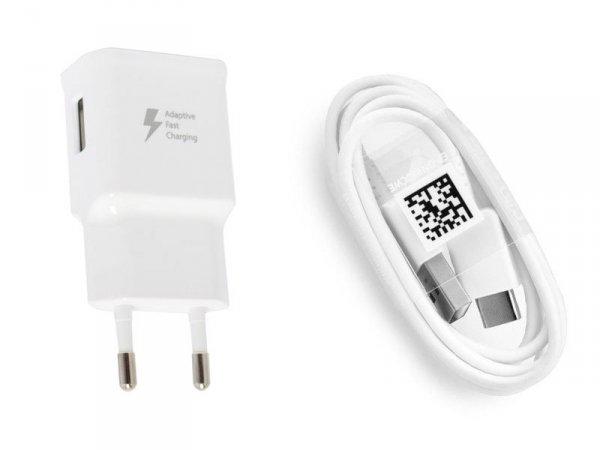 SAMSUNG - ŁADOWARKA SIECIOWA 2A FAST CHARGE z kablem USB TYP C do Samsung Galaxy A3 A5 2017 S8 S8+ S9 S9+ Note 8 9 , A8 A9 2018 , A40 A50 A70 - EP-TA20EWE+EP-DN930CWE typ-c