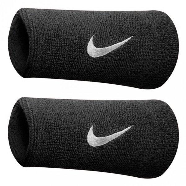 Frotka na rękę Nike szeroka Swoosh Doublewide czarna 2szt NNN05010