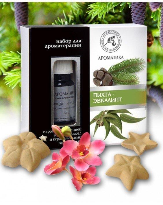 Jodła i Eukaliptus Zestaw do Aromaterapii - Olejki Naturalne i Gwiazdki Ceramiczne, Aromatika