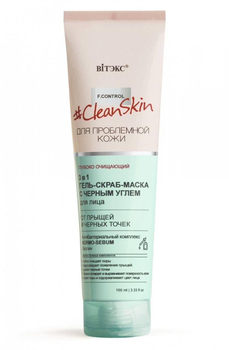 Żelowa Maska Peelingująca na Trądzik i Zaskórniki z Czarnym Węglem, Clean Skin