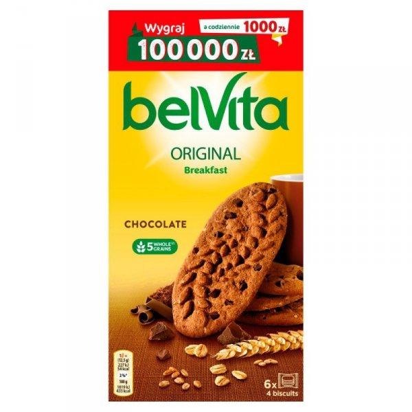 belVita Breakfast Ciastka zbożowe o smaku kakaowym z kawałkami czekolady 300 g