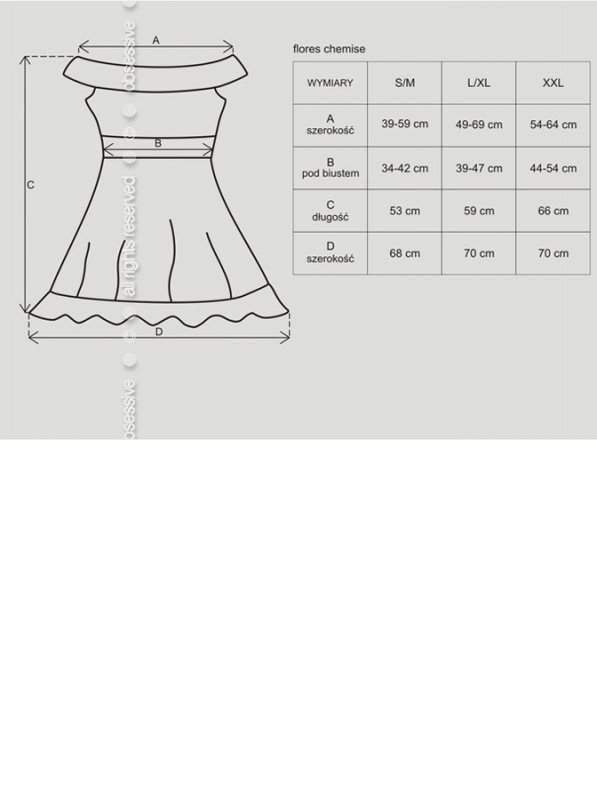 Bielizna-Flores koszulka i stringi czarna L/XL