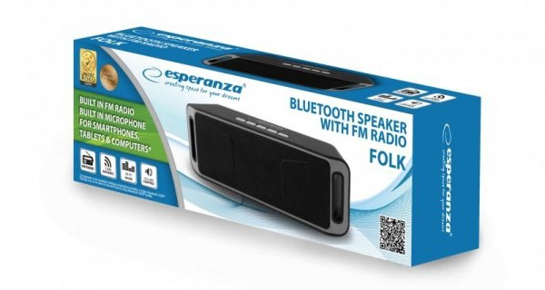 Głośnik bluetooth Esperanza FOLK EP126KE (kolor czarny)
