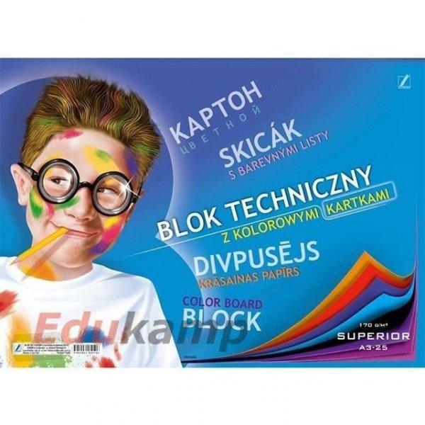 Blok techniczny A3 10k z kolorowymi kartkami KRESKA