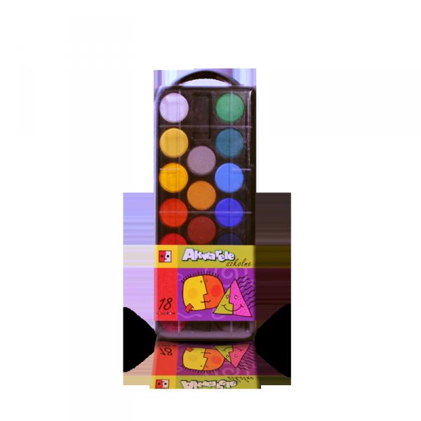 Farby akwarele szkolne 18kolorów JEDNOŚĆ