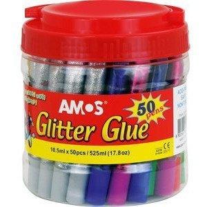 Klej z brokatem AMOS GCL10BK50 10.5ml 6kol-50sztuk w wiaderku 170-2220