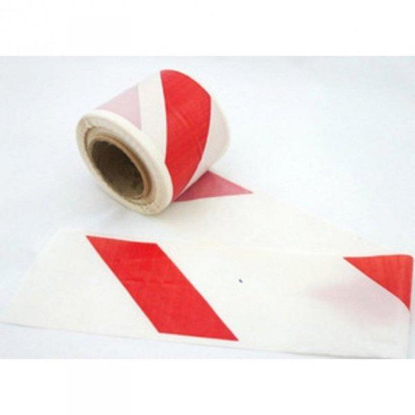 Taśma ostrzegawcza 100mm x 100m biało-czerwona