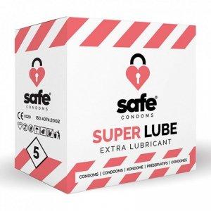 Prezerwatywy - Safe Super Lube Condoms Extra Lubricant 5 szt