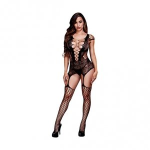Bodystocking - Baci Corset Front Suspender Fishnet Bodysuit One Size