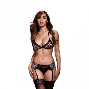 Komplet - Baci Leopard & Lace Bra Top & Garter & Panty One Size