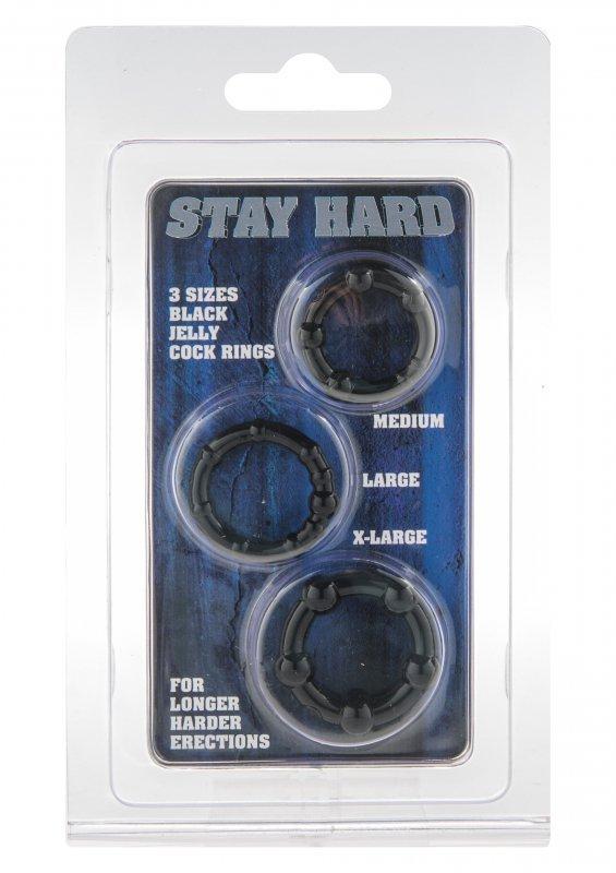 Pierścień-STAY HARD - THREE RINGS - BLACK