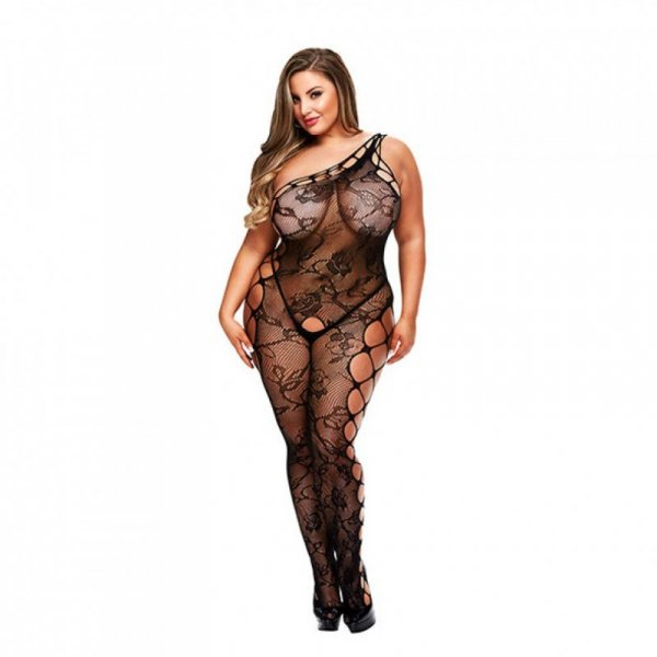 Bodystocking z wycięciem w kroku - Baci Off the Shoulder Bodystocking Queen Size