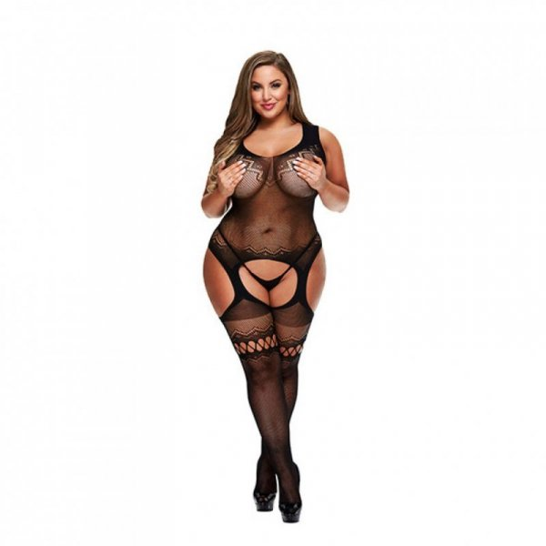 Bodystocking z wycięciem w kroku - Baci Crotchless Garter Bodystocking Queen Size
