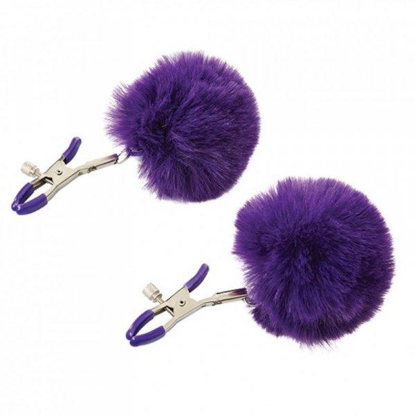 Zaciski na sutki - Sportsheets Sincerely Fur Nipple Clips Purple