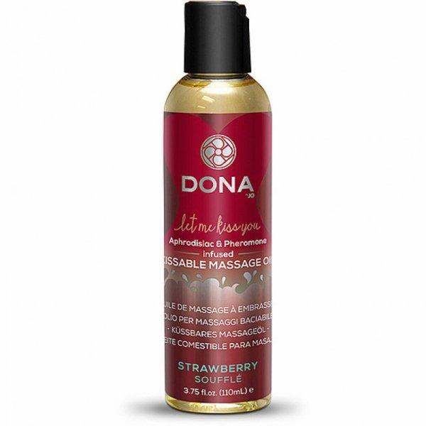 Jadalny olejek do masażu - Dona Kissable Massage Oil Strawberry Soufflé Truskawkowy