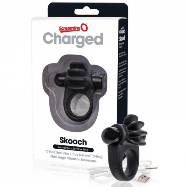 Pierścień erekcyjny - The Screaming O Charged Skooch Ring Black