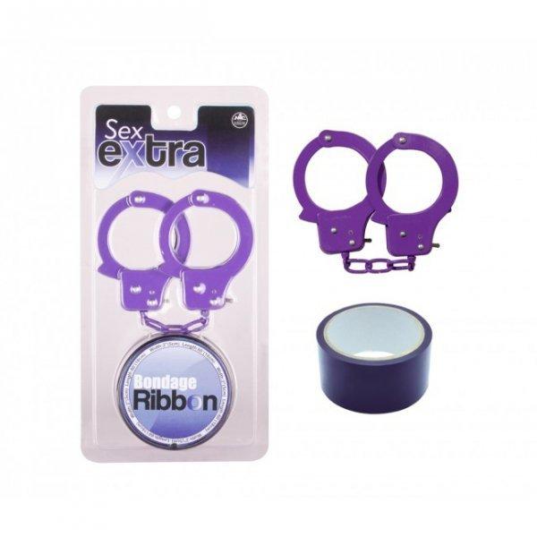 Kajdanki Purple Sex Extra PVC Ribbon and Handcuffs