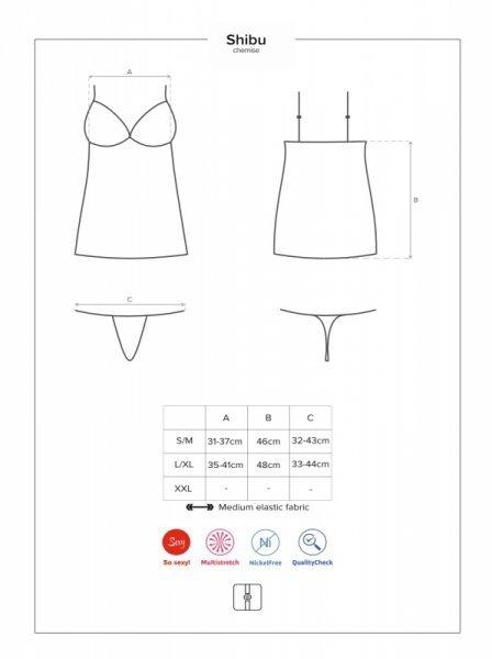 Bielizna Shibu koszulka i stringi czarna L/XL